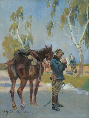 Kossak Wojciech, UŁANI NA POSTOJU, 1922