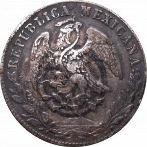Meksyk, 8 reali 1880, Alamos - chop marki, ink mark