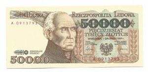 PRL, 50000 złotych 1989 Staszic seria A