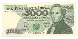 PRL, 5000 złotych 1986 - seria AY