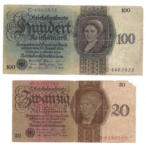 Niemcy, zestaw 20 i 100 marek 1924