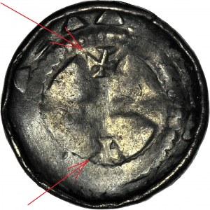 RR-, Denar krzyżowy XIw, CNP 638, krzyż prosty i 2 swastyki/krzyż maltański i 2 swastyki