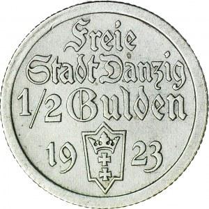 Wolne Miasto Gdańsk, 1/2 guldena 1923, ładne