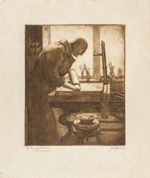 Pieniążek Józef (1888-1953), Profesor Leon Wyczółkowski w swojej pracowni, 1925