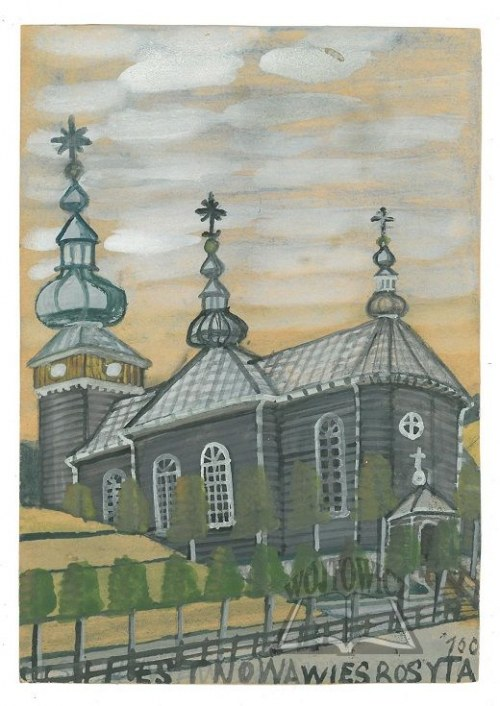 NIKIFOR Krynicki (1895-1968), Wiejska cerkiew.