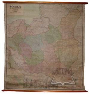 POLSKA. Mapa topograficzna, komunikacyjna i administracyjna. (ścienna).