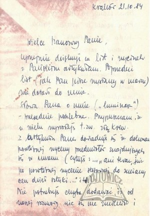 SZANCENBACH Jan (1928-1998) - polski malarz, przedstawiciel koloryzmu., List do Janusza Miliszkiewicza.
