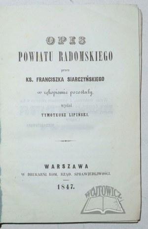SIARCZYŃSKI Franciszek, Opis powiatu Radomskiego