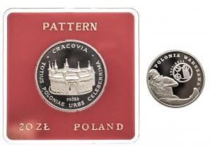 Polska, Rzeczpospolita Polska od 1989, Polonia Warszawa pod Barbakanem, zestaw dwóch monet.