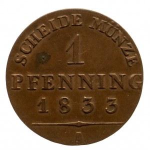 Niemcy, Prusy, Fryderyk Wilhelm III, 1797 - 1840, 1 pfenning 1833, Berlin.