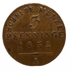 Niemcy, Prusy, Fryderyk Wilhelm III, 1797 - 1840, 3 pfenninge 1832, Berlin.