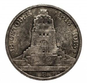 Niemcy, Cesarstwo Niemieckie 1871-1918, Saksonia - Fryderyk August III 1904-1918, 3 marki 1913 E, Muldenhütten, wybite z okazji 100. rocznicy zwycięstwa pod Lipskiem.