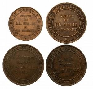 Francja, zestaw 4 wzorów monet bitych z okazji wizyt Napoleona III