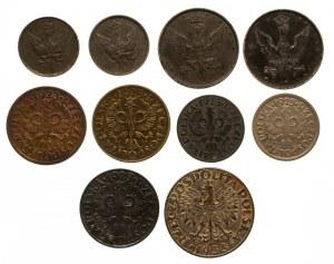 Zestaw 10 drobnych monet: Królestwo Polskie, II RP, GG