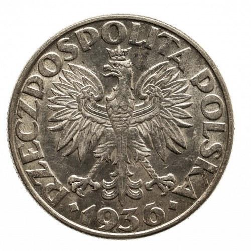 Polska, II Rzeczpospolita 1918-1939, 2 złote 1936, Żaglowiec, Warszawa.