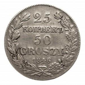 Polska, Zabór rosyjski, Mikołaj I 1825-1855, 25 kopiejek, 50 groszy 1846 MW, Warszawa.