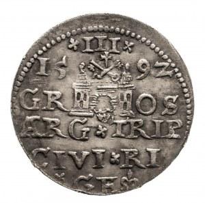 Polska, Zygmunt III Waza 1587-1632, trojak 1592, Ryga.