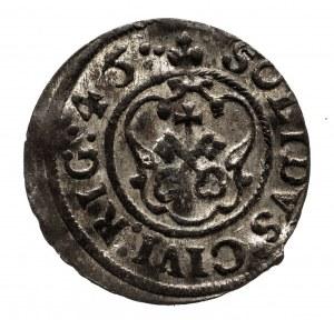 Ryga, Krystyna Waza, szeląg 1645, Ryga , WYŚMIENITY