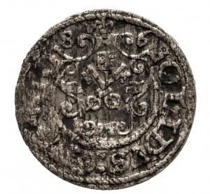 Polska, Stefan Batory 1576-1586, szeląg 1586, Ryga, na rewersie odmiana z tarczą z łukam...