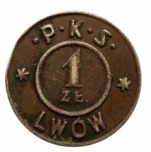Lwów, żeton 1 zł., P.K.S., jednostronny