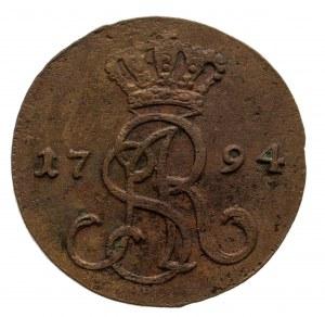 Polska, Stanisław August Poniatowski 1764-1795, grosz 1794 M.V., Warszawa.
