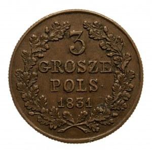 Powstanie Listopadowe 1830-1831, 3 grosze 1831, Warszawa.