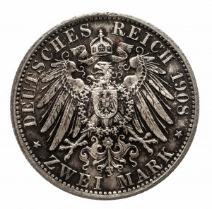 Niemcy, Cesarstwo Niemieckie 1871-1918, Saksonia - Weimar - Eisenach, 2 marki 1908, Berlin.