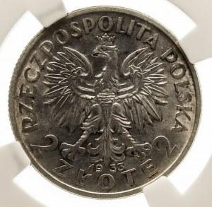 Polska, II Rzeczpospolita 1918-1939, 2 złote 1933 Polonia, Warszawa NGC MS 64.