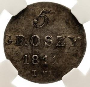 Księstwo Warszawskie 1807-1815, 5 groszy 1811 I.B. Warszawa, NGC AU58.