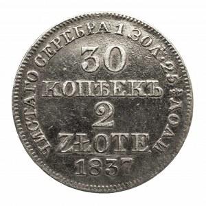 Polska, Zabór rosyjski, Mikołaj I (1825–1855), 2 złote / 30 kopiejek 1837 MW, Warszawa