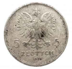 Polska, II Rzeczpospolita Polska 1918–1939, 5 złotych 1930, Warszawa, sztandar