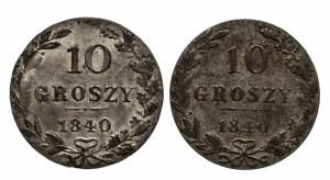 Polska, Zabór rosyjski, Mikołaj I 1825–1855, zestaw 2x10 groszy 1840 MW, Warszawa