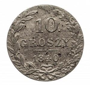 Polska, Zabór rosyjski, Mikołaj I 1825–1855, 10 groszy, 1840 MW, Warszawa, kropka po