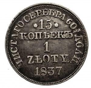 Polska, Zabór rosyjski, Mikołaj I 1826-1855, 1 złoty / 15 kopiejek 1837 MW, Warszawa