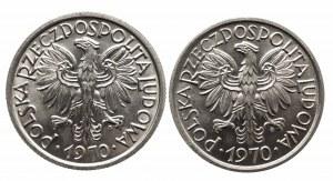 Polska, PRL 1944-1989, zestaw 2 złote 1970 - dwie odmiany stempla