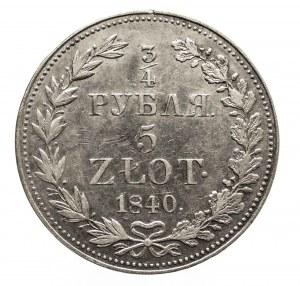 Polska, Zabór rosyjski, Mikołaj I 1826-1855, 5 złotych - 3/4 rubla 1840 MW, Warszawa