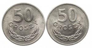 Polska, PRL 1944-1989, zestaw monet 50 groszy: 1949AL, 1957
