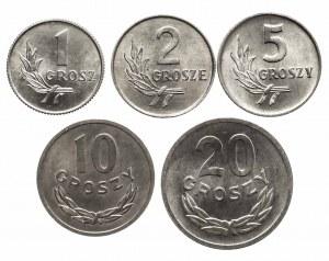 Polska, PRL 1944-1989, zestaw 5 menniczych drobniaków