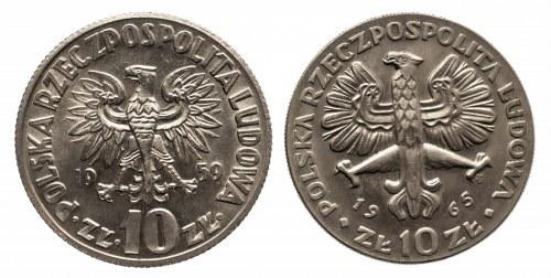 Polska, PRL 1944-1989, zestaw: 10 złotych 1959 Kopernik, 10 złotych 1965 Nike