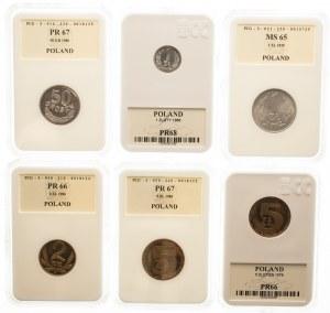 Polska, PRL 1944-1989, zestaw monet obiegowych - głównie stempel lustrzany