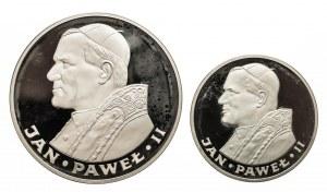 Polska, PRL 1944-1989, zestaw: 100 i 200 złotych 1982, Jan Paweł II, Valcambi, stempel lustrzany