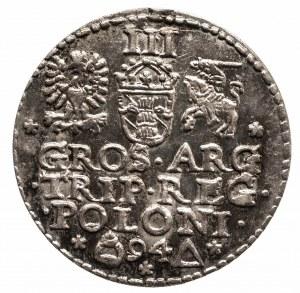 Polska, Zygmunt III Waza 1587-1632, trojak koronny 1594, Malbork - piękny