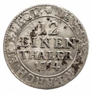 Polska, August III Sas 1733–1763, 1/12 talara 1754 FWôF, Drezno
