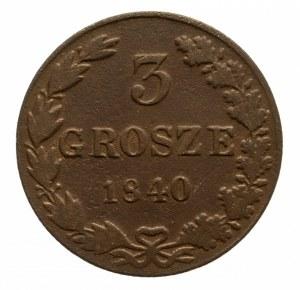 Polska, Zabór rosyjski, Mikołaj I 1825-1855, 3 grosze 1840 MW, Warszawa