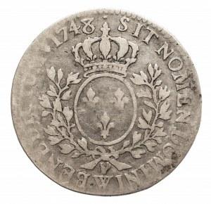 Francja, Ludwik XV, 1/2 ecu 1748 W, Lille