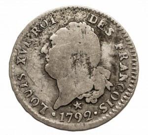 Francja Ludwik XVI, 30 sols (1/4 ecu) 1792 W, Lille