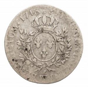 Francja, Ludwik XV, 1/2 franka 1748 W, Lille