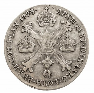Austria, Niderlandy, Franciszek II 1792 - 1806, 1/4 talara 1793 B, Kremnica.