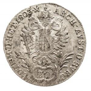 Austria, Franciszek II 1792 - 1806, 20 krajcarów 1803 C, Praga.