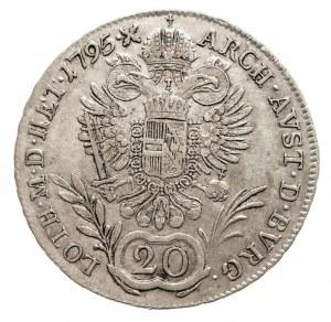 Austria, Franciszek II 1792 - 1806, 20 krajcarów 1795 E, Karlsburg.
